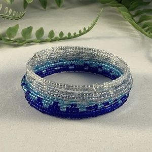 Blue and white seed bead bracelet